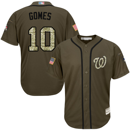 Nationals #10 Yan Gomes Green Salute to Service Stitched Baseball Jersey