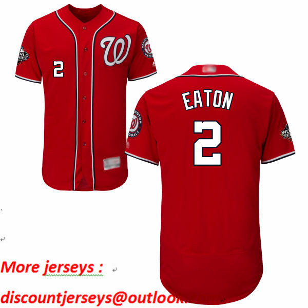 Nationals #2 Adam Eaton Red Flexbase Authentic Collection 2019 World Series Bound Stitched Baseball Jersey