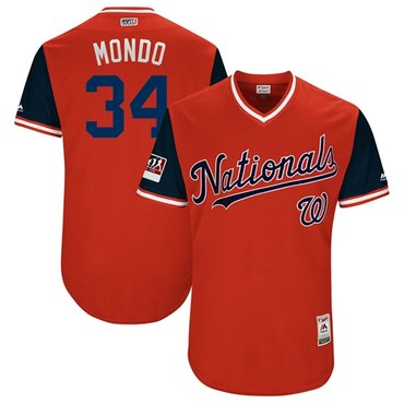 Nationals #34 Bryce Harper Red Mondo Players Weekend Authentic Stitched MLB Jersey