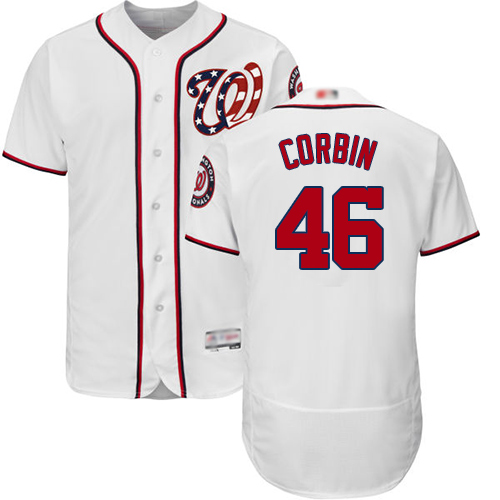 Nationals #46 Patrick Corbin White Flexbase Authentic Collection Stitched Baseball Jersey