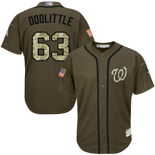Nationals #63 Sean Doolittle Green Salute to Service Stitched Baseball Jersey