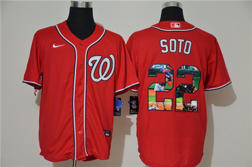 Nationals 22 Juan Soto Red Nike Cool Base Player Jersey