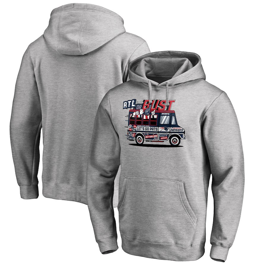 New England Patriots NFL Pro Line By Fanatics Branded Super Bowl LIII Bound ATL Or Bust Pullover Hoodie Heather Gray