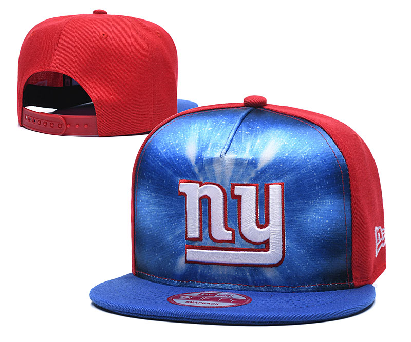 New York Giants Team Logo Royal Red Adjustable Leather Hat 1 TX