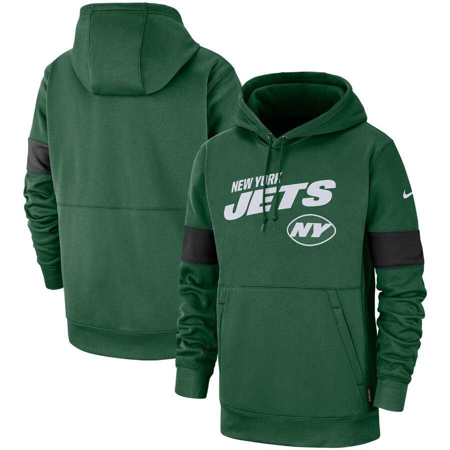 New York Jets Nike Sideline Team Logo Performance Pullover Hoodie Green