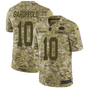 Nike 49ers #10 Jimmy Garoppolo Camo Youth Stitched NFL Limited 2018 Salute to Service Jersey