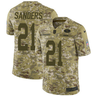 Nike 49ers #21 Deion Sanders Camo Youth Stitched NFL Limited 2018 Salute to Service Jersey