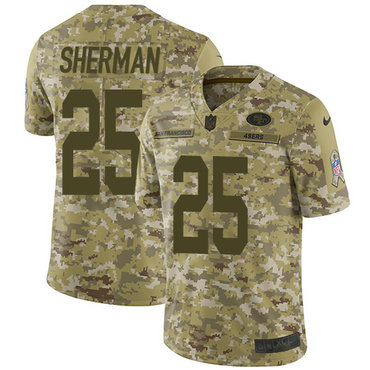 Nike 49ers #25 Richard Sherman Camo Youth Stitched NFL Limited 2018 Salute to Service Jersey