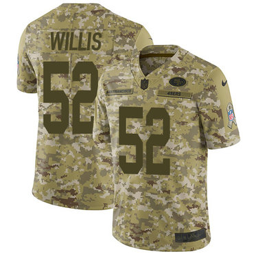 Nike 49ers #52 Patrick Willis Camo Youth Stitched NFL Limited 2018 Salute to Service Jersey