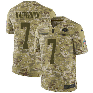 Nike 49ers #7 Colin Kaepernick Camo Youth Stitched NFL Limited 2018 Salute to Service Jersey