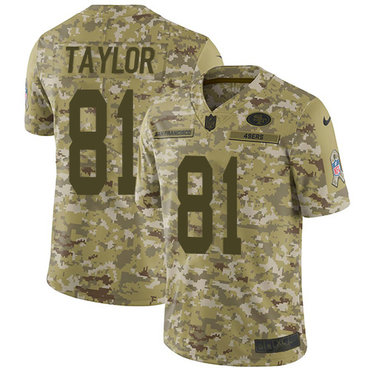 Nike 49ers #81 Trent Taylor Camo Youth Stitched NFL Limited 2018 Salute to Service Jersey