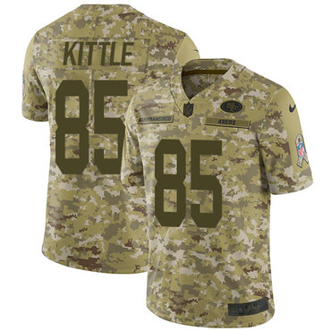 Nike 49ers #85 George Kittle Camo Youth Stitched NFL Limited 2018 Salute to Service Jersey