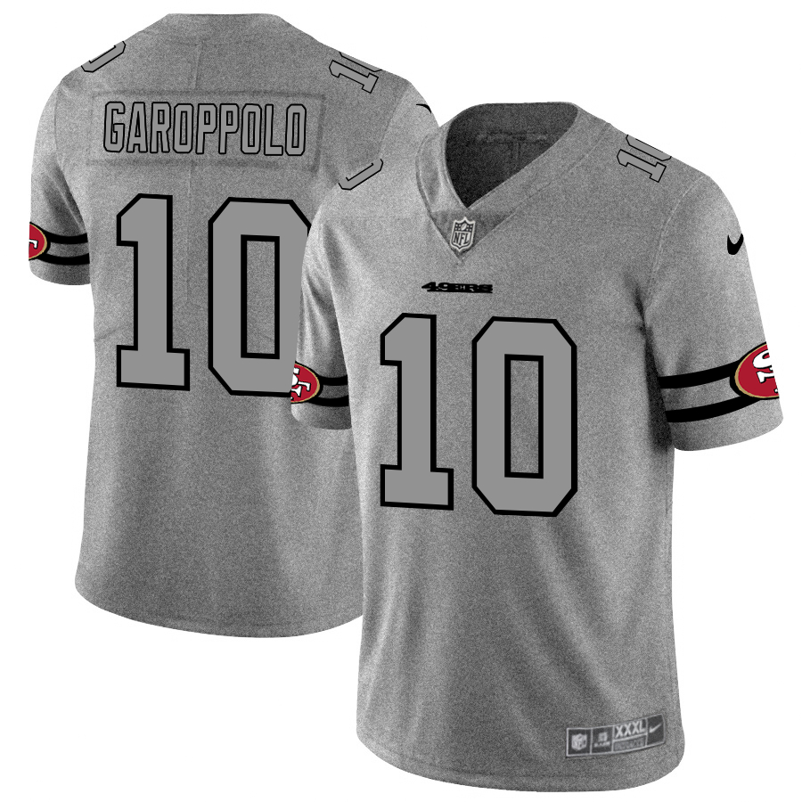 Nike 49ers 10 Jimmy Garoppolo 2019 Gray Gridiron Gray Vapor Untouchable Limited Jersey