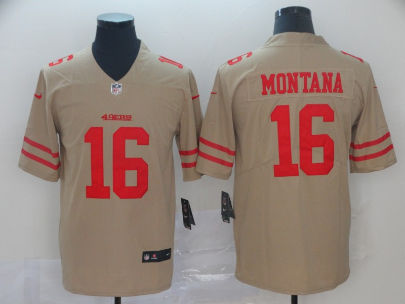 Nike 49ers 16 Joe Montana Gold Inverted Legend Limited Jersey