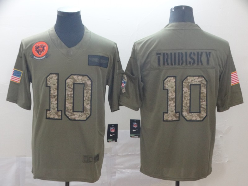 Nike Bears 10 Mitchell Trubisky 2019 Olive Camo Salute To Service Limited Jersey