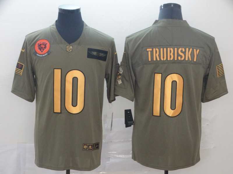 Nike Bears 10 Mitchell Trubisky 2019 Olive Gold Salute To Service Limited Jersey