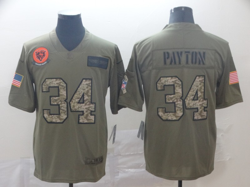 Nike Bears 34 Walter Payton 2019 Olive Camo Salute To Service Limited Jersey