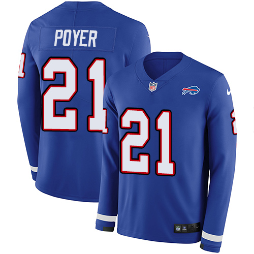 Nike Bills #21 Jordan Poyer Royal Blue Team Color Men's Stitched NFL Limited Therma Long Sleeve Jersey