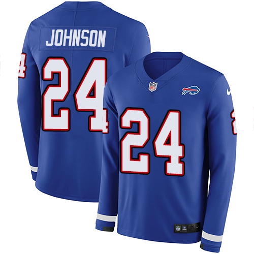 Nike Bills #24 Taron Johnson Royal Blue Team Color Men's Stitched NFL Limited Therma Long Sleeve Jersey