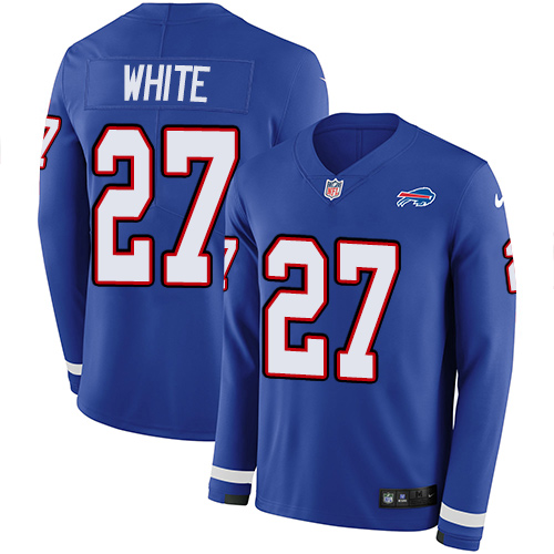 Nike Bills #27 Tre'Davious White Royal Blue Team Color Men's Stitched NFL Limited Therma Long Sleeve Jersey