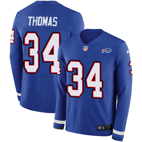 Nike Bills #34 Thurman Thomas Royal Blue Team Color Men's Stitched NFL Limited Therma Long Sleeve Jersey