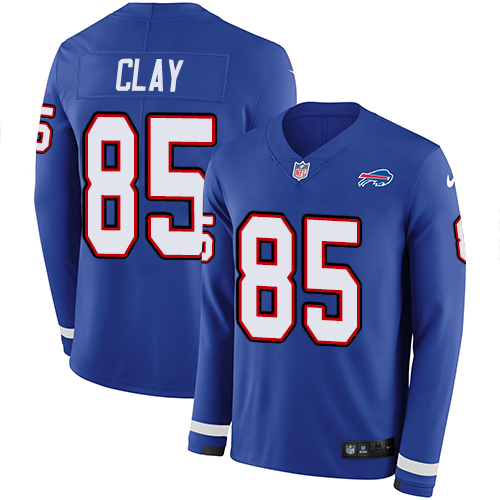 Nike Bills #85 Charles Clay Royal Blue Team Color Men's Stitched NFL Limited Therma Long Sleeve Jersey