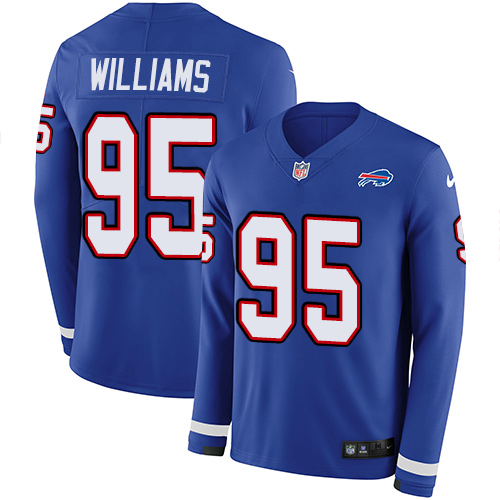 Nike Bills #95 Kyle Williams Royal Blue Team Color Men's Stitched NFL Limited Therma Long Sleeve Jersey