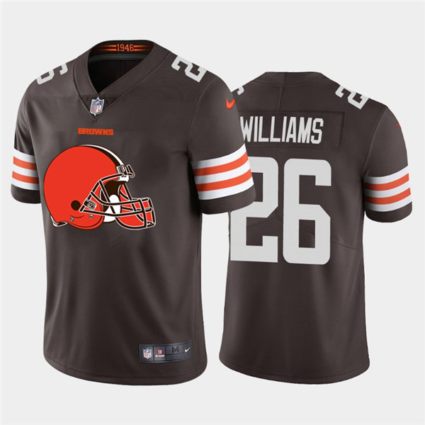 Nike Browns 26 Greedy Williams Brown Team Big Logo Vapor Untouchable Limited Jersey