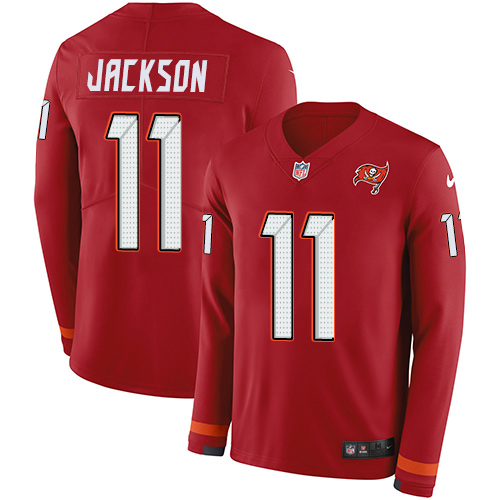Nike Buccaneers #11 DeSean Jackson Red Team Color Men's Stitched NFL Limited Therma Long Sleeve Jersey