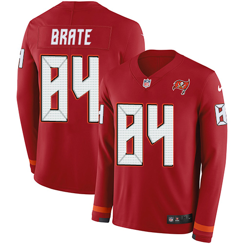 Nike Buccaneers #84 Cameron Brate Red Team Color Men's Stitched NFL Limited Therma Long Sleeve Jersey
