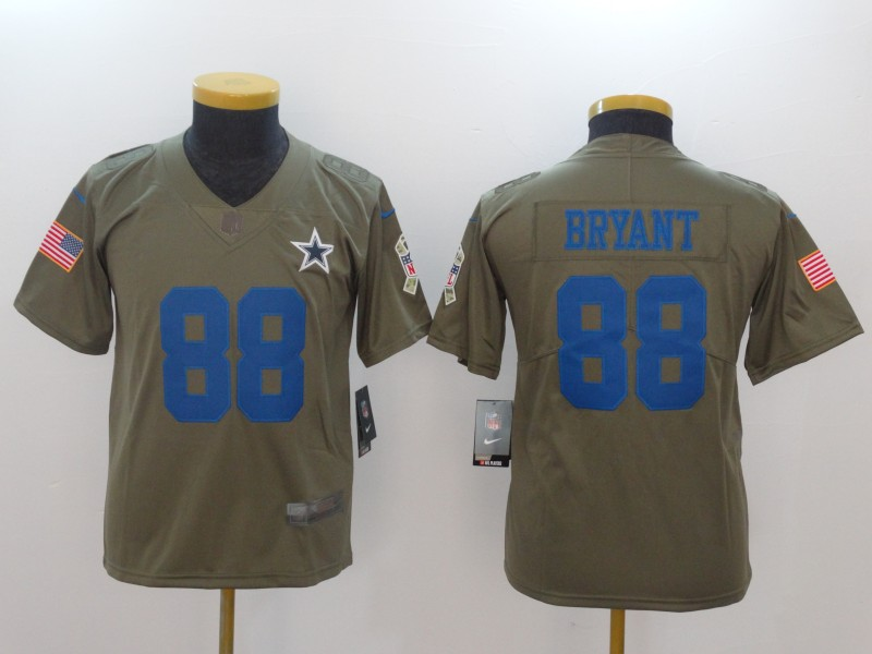 info for 2326e 21c0a Nike Cowboys 88 Dez Bryant Olive Youth Salute To Service ...