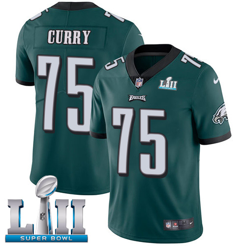 Nike Eagles #75 Vinny Curry Midnight Green Team Color Super Bowl LII Youth Stitched NFL Vapor Untouchable Limited Jersey$199.99$21.50
