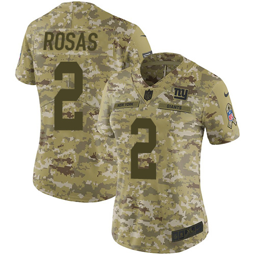 Nike Giants #2 Aldrick Rosas Camo Women's Stitched NFL Limited 2018 Salute to Service Jersey