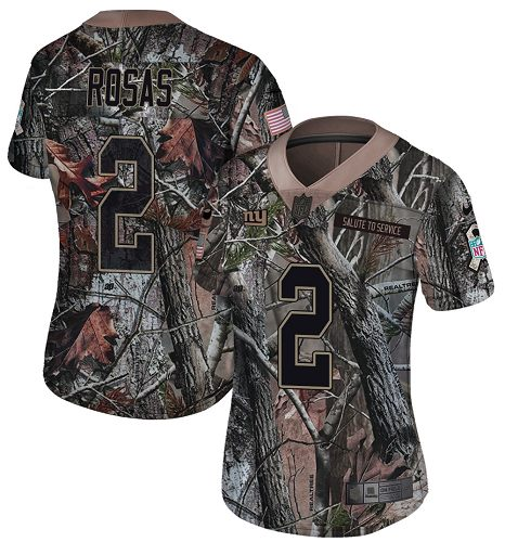 Nike Giants #2 Aldrick Rosas Camo Women's Stitched NFL Limited Rush Realtree Jersey