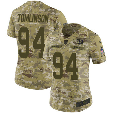b1fbb9c07 Nike Giants  94 Dalvin Tomlinson Camo Women s Stitched NFL Limited 2018  Salute to Service Jersey