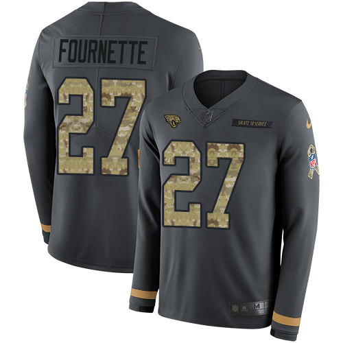 Nike Jaguars  27 Leonard Fournette Anthracite Salute to Service Men s  Stitched NFL Limited Therma Long 5fe375db1
