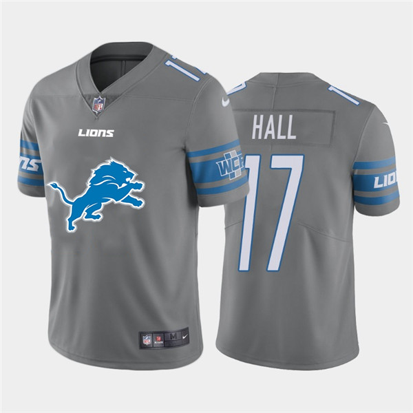 Nike Lions 17 Marvin Hall Gray Team Big Logo Vapor Untouchable Limited Jersey