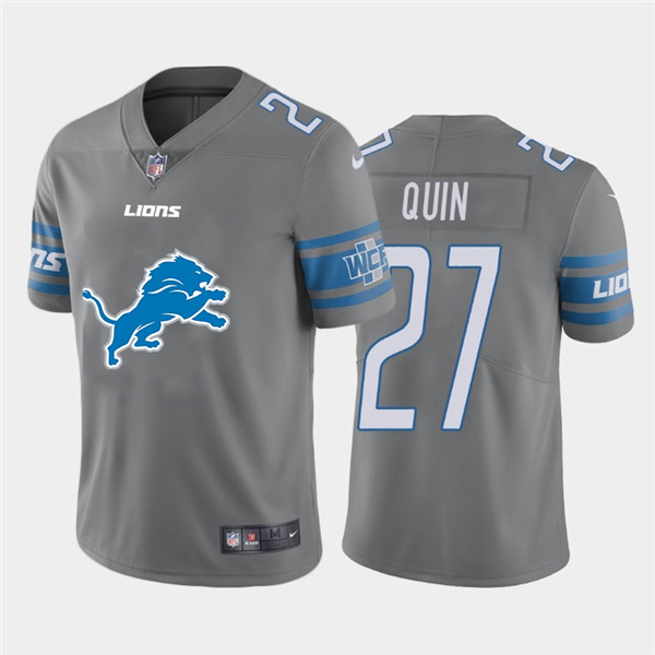 Nike Lions 27 Glover Quin Gray Team Big Logo Vapor Untouchable Limited Jersey
