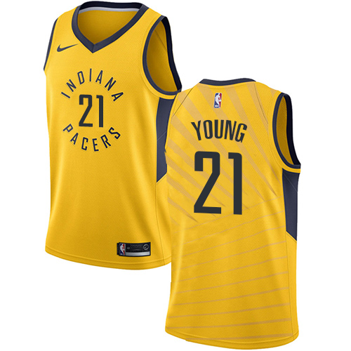 Nike Pacers #21 Thaddeus Young Gold NBA Swingman Statement Edition Jersey