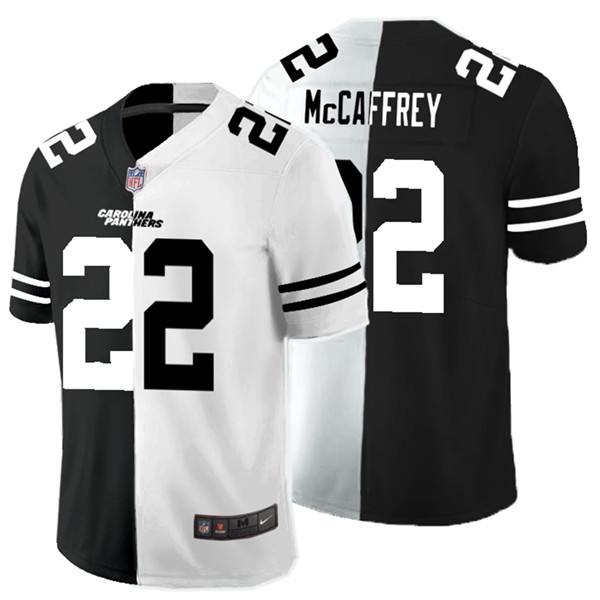 Nike Panthers 22 Christian McCaffrey Black And White Split Vapor Untouchable Limited Jersey