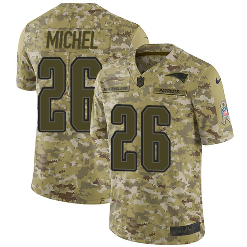 Nike Patriots 26 Sony Michel Camo Salute To Service Limited Jersey