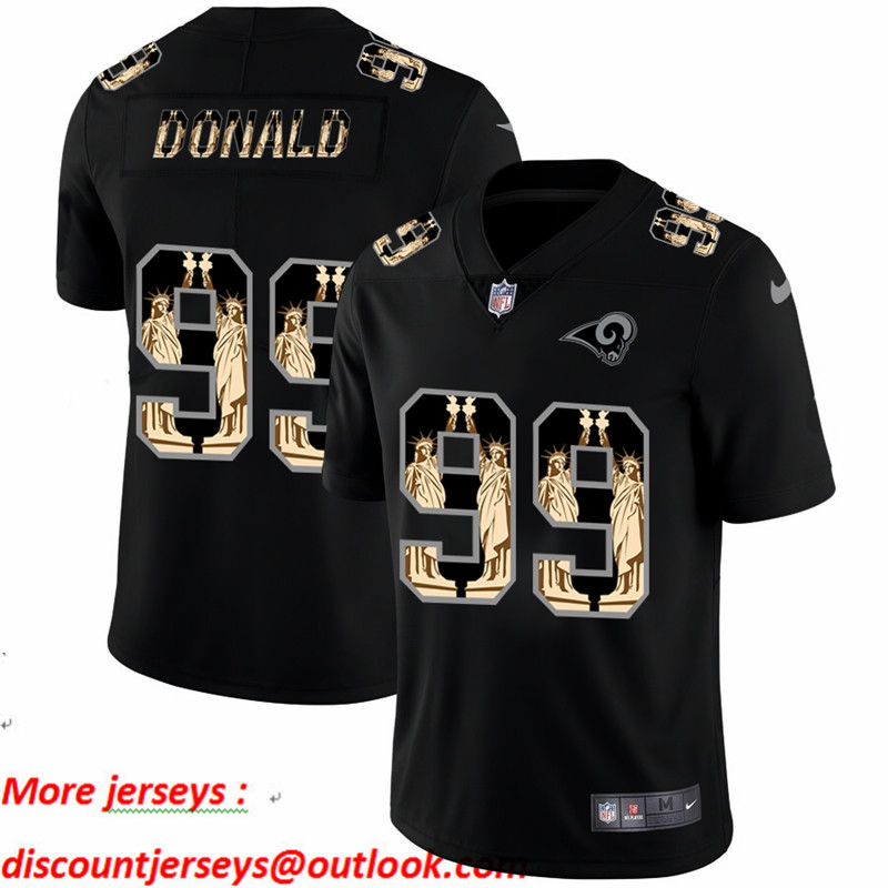 Nike Rams 99 Aaron Donald Black Statue Of Liberty Limited Jersey