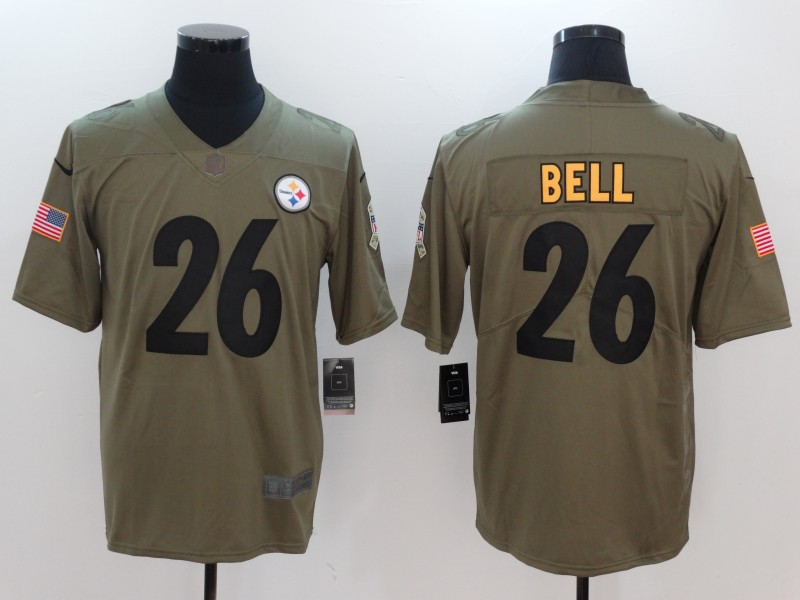 Nike Steelers 26 Le'Veon Bell Olive Salute To Service Limited Jersey Size L