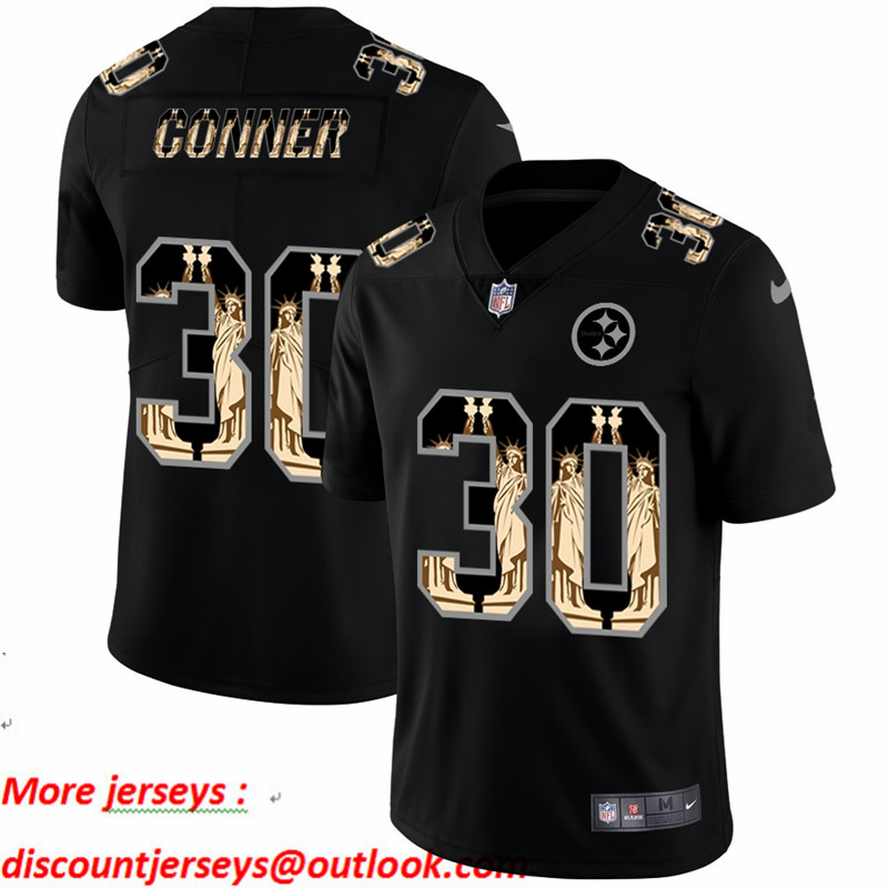 Nike Steelers 30 James Conner Black Statue Of Liberty Limited Jersey