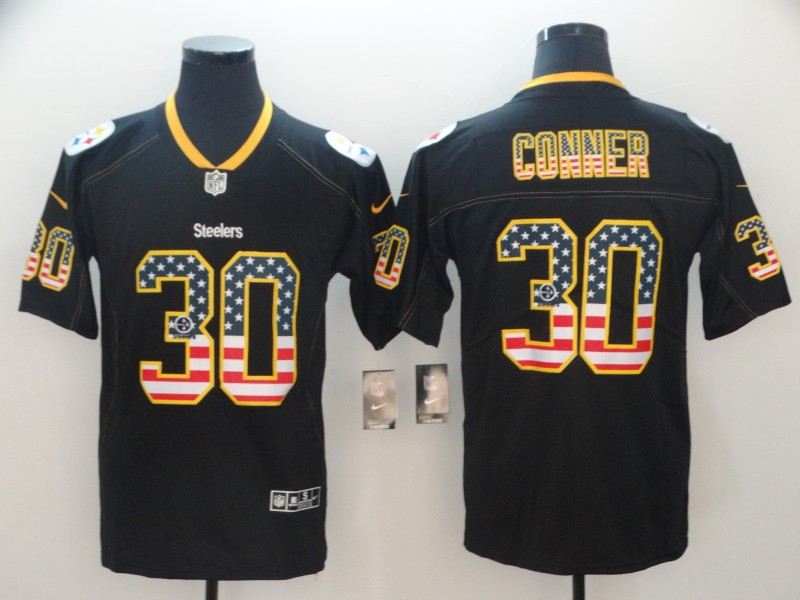 Nike Steelers 30 James Conner Black USA Flag Fashion Limited Jersey