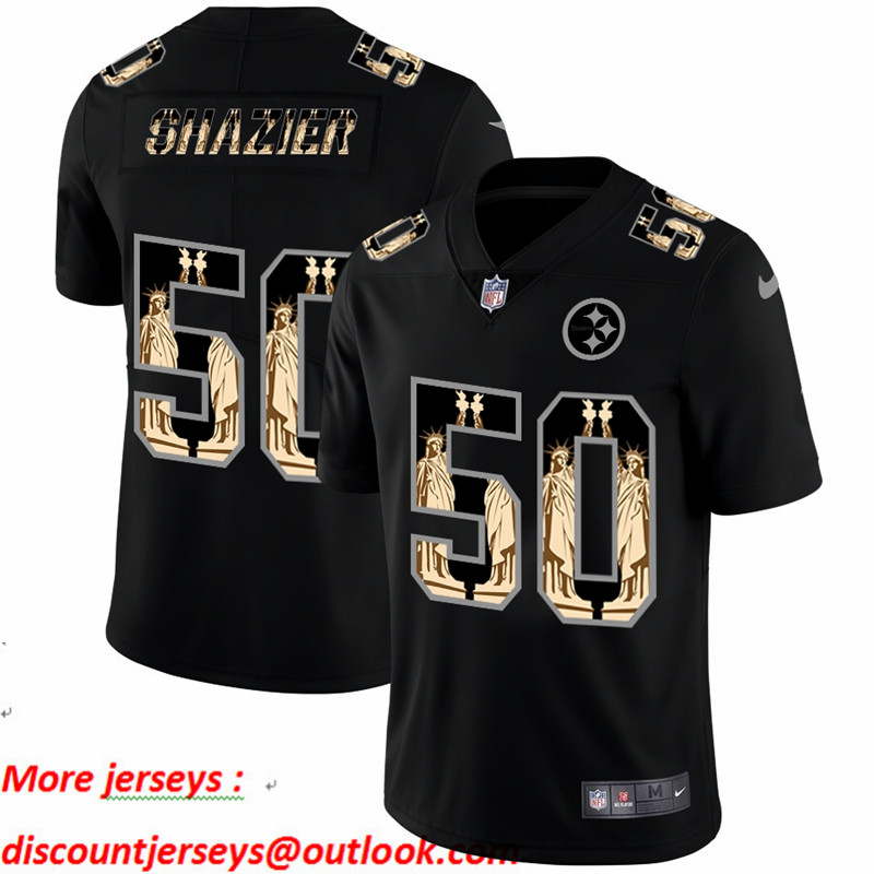 Nike Steelers 50 Ryan Shazier Black Statue Of Liberty Limited Jersey
