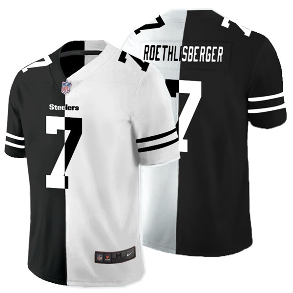 Nike Steelers 7 Ben Roethlisberger Black And White Split Vapor Untouchable Limited Jersey