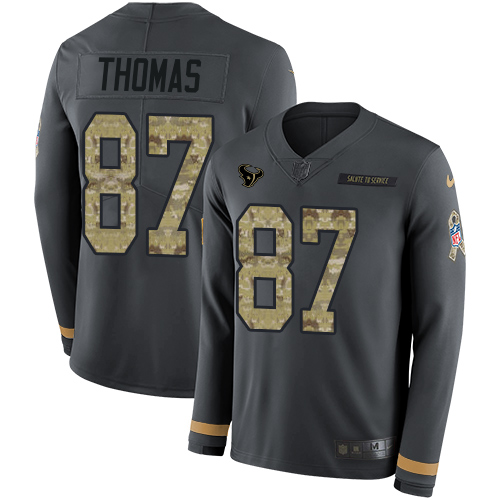 Nike Texans #87 Demaryius Thomas Anthracite Salute to Service Men's Stitched NFL Limited Therma Long Sleeve Jersey