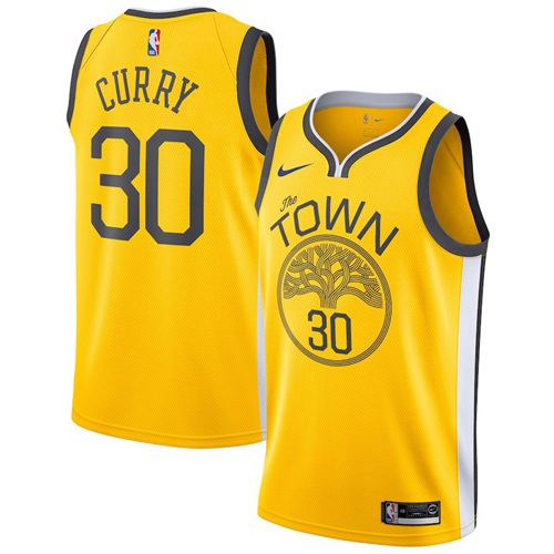 Nike Warriors #30 Stephen Curry Gold Big Size