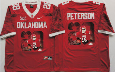 the best attitude 9879e ee9c8 Oklahoma Sooners 28 Adrian Peterson Red Portrait Number ...